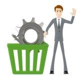 3d caráter, homem que acena uma mão e uma cesta com roda denteada/engrenagem dentro dela Ilustração Royalty Free
