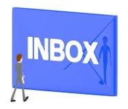 3d caráter, homem que anda para o envelope com texto do inbox nele ilustração royalty free
