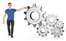 3d caráter, homem que aponta a roda denteada/engrenagem dos toawrds das mãos Ilustração Stock