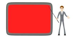 3d caráter, homem que aponta sua vara para uma grande placa vazia vermelha do copyspace ilustração royalty free