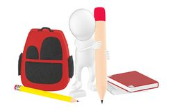 3d caráter, homem que guarda um lápis e uma escrita, saco de escola, livros, lápis, borracha, bloco de notas no assoalho ilustração do vetor