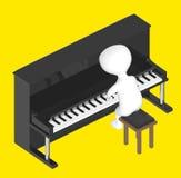 3d caráter, homem que joga o piano ilustração do vetor