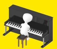 3d caráter, homem que joga o piano ilustração royalty free