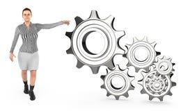 3d caráter, mulher que aponta a roda denteada/engrenagem dos toawrds das mãos Ilustração do Vetor