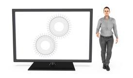 3d caráter, mulher que está perto de uma tela de monitor com a roda denteada nela - a emenda, ajusta, ajustes Ilustração Royalty Free