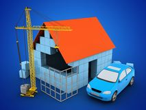 3d car. 3d illustration of block house over blue background with car and construction site Royalty Free Stock Images