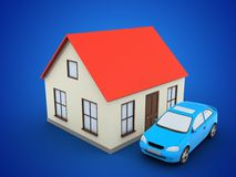 3d car. 3d illustration of generic house over blue background with car Stock Image