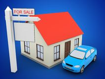 3d car. 3d illustration of generic house over blue background with car and sale sign Royalty Free Stock Image