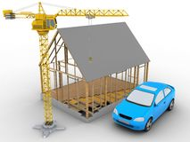 3d car. 3d illustration of house frame over white background with car and crane Royalty Free Stock Photography