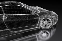 3D car mesh on a black Royalty Free Stock Image
