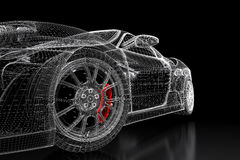 3D car mesh on a black. Car vehicle 3d blueprint mesh model with a red brake caliper on a black background. 3d rendered image Stock Image