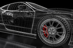 3D car mesh on a black. Car vehicle 3d blueprint mesh model with a red brake caliper on a black background. 3d rendered image Royalty Free Stock Photography