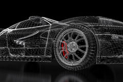 3D car mesh on a black Royalty Free Stock Images