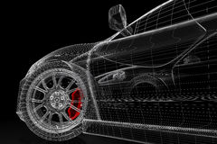 3D car mesh on a black Stock Photography