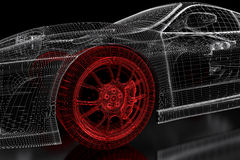 3D car mesh on a black. Car vehicle 3d blueprint mesh model with a red wheel tire on a black background. 3d rendered image Stock Image