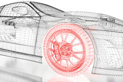 3D car mesh on a black. Car vehicle 3d blueprint mesh model with a red wheel tire on a white background. 3d rendered image Stock Photo