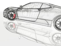 3D car mesh on a white Stock Photography