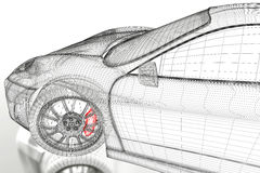 3D car mesh on a white Royalty Free Stock Photos