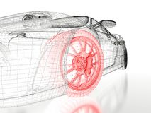 3D car mesh on a white. Car vehicle 3d blueprint mesh model with a red wheel tire on a white background. 3d rendered image Stock Photos