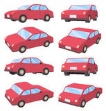 3D car sedan type. Set of various poses of 3D car sedan type Stock Photos