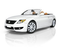 3D Car. Side view studio shot of white convertible stock images