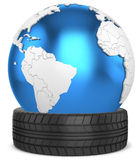3d car tire  with earth globe. On white background Stock Images