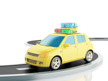 3d car with travel suitcases. Stock Photos