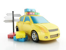 3d car with travel suitcases. Royalty Free Stock Photo