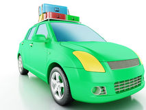 3d car with travel suitcases. Royalty Free Stock Photography