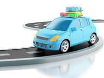 3d car with travel suitcases Royalty Free Stock Photo