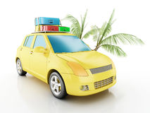 3d car with travel suitcases. Stock Image