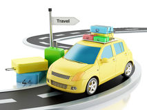 3d car with travel suitcases Royalty Free Stock Photos