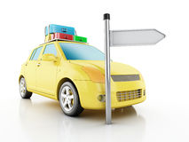 3d car with travel suitcases. Stock Photography