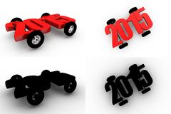 3d  2015 car wheel concept collections with alpha and shadow channel Stock Photography