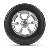 3d Car wheel with tyre. 3d render of a car wheel with a tyre Royalty Free Stock Photos