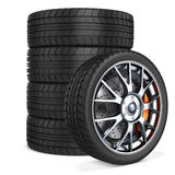 3d car wheels stack. On white background Stock Images