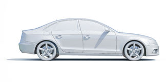 3d Car White Blank Template Royalty Free Stock Image