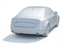 3d Car White Blank Template Royalty Free Stock Photo