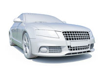 3d Car White Blank Template Stock Image