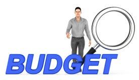 3d caractère, homme presque se tenant à une loupe, texte de budget illustration libre de droits