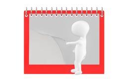 3d caractère, homme renversant la page du calendrier/du bloc-notes vides Image libre de droits