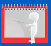 3d caractère, homme renversant la page du calendrier/du bloc-notes vides Images libres de droits