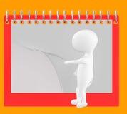3d caractère, homme renversant la page du calendrier/du bloc-notes vides Image stock