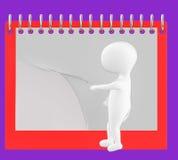 3d caractère, homme renversant la page du calendrier/du bloc-notes vides Photos stock