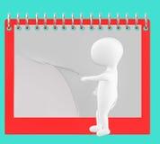 3d caractère, homme renversant la page du calendrier/du bloc-notes vides Photographie stock libre de droits