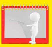 3d caractère, homme renversant la page du calendrier/du bloc-notes vides Photo libre de droits