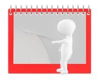 3d caractère, homme renversant la page du calendrier/du bloc-notes vides Illustration Stock