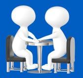 3d caractère, homme, se reposer de deux caractères opposé sur une table Images stock