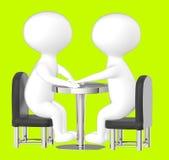 3d caractère, homme, se reposer de deux caractères opposé sur une table Image libre de droits