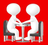 3d caractère, homme, se reposer de deux caractères opposé sur une table Image stock